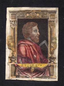 S. THADDEUS - S. Giuda Taddeo Incisione a bulino su cartadi Jacobus De Man. Area Fiamminga, prima metà del XVII secolo.