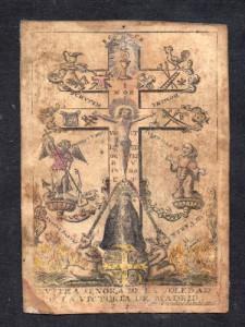 NVSTRA SENORA DE LA SOLEDAD DE LA VICTORIA DE MADRID (Nostra Signora della Solitudine della Vittoria di Madrid) Incisione a bulino su pergamena di Jean Babtiste Van Den Sande. Area Fiamminga, XVII secolo.