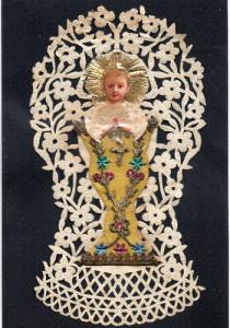 PORTAINFANTE Collage di materiali vari su supporto di carta. Italia, seconda metà XIX secolo.