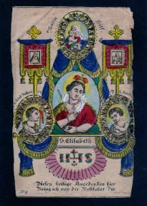 ST. ELISABETH (S. Elisabetta) Incisione su rame con applicazioni in foglia d'oro. Praga, inizi XIX secolo.